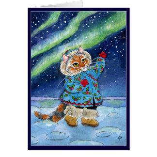 Chat mignon, hiver, lumières du nord, Noël drôle Carte De Vœux