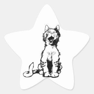 Chat mignon Meowing Sticker En Étoile