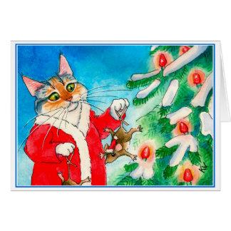 Chat mignon, souris, carte de voeux d'arbre de