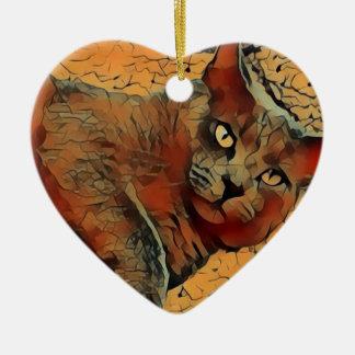 Chat mystérieux ornement cœur en céramique