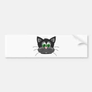 Chat noir aux yeux verts autocollant de voiture