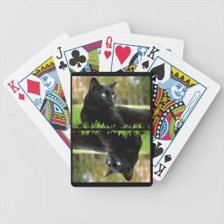 Chat noir aux yeux verts détendant dans la pelouse jeu de cartes