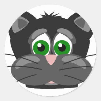 Chat noir aux yeux verts sticker rond