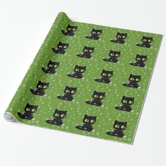 chat noir avec les chaussettes blanches papier cadeau