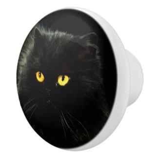Chat noir bouton de porte en céramique