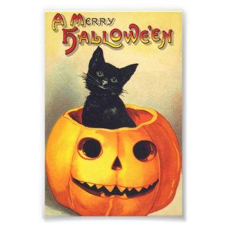 Chat noir dans le joyeux art de cru de Halloween Photos