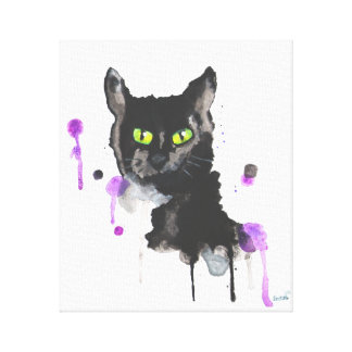 Chat noir d'aquarelle - copie de toile