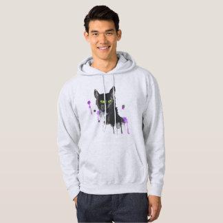Chat noir d'aquarelle - sweatshirt de cendre
