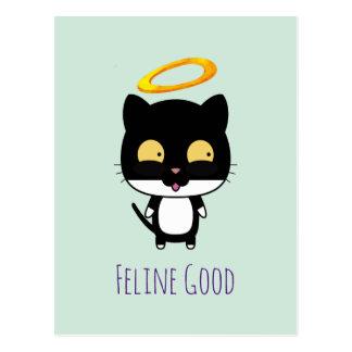 Chat noir de calembour drôle avec une bande carte postale