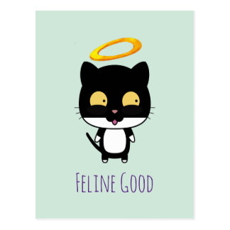 Chat noir de calembour drôle avec une bande cartes postales