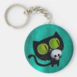 Chat noir de Halloween avec le crâne Porte-clés