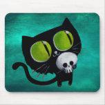 Chat noir de Halloween avec le crâne Tapis De Souris