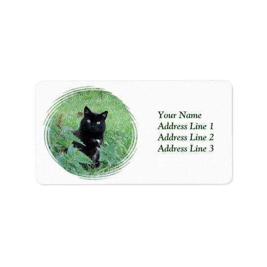 Chat noir de Halloween dans l'étiquette de adresse Étiquette D'adresse