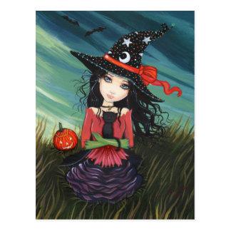 Chat noir de sorcière de carte postale de