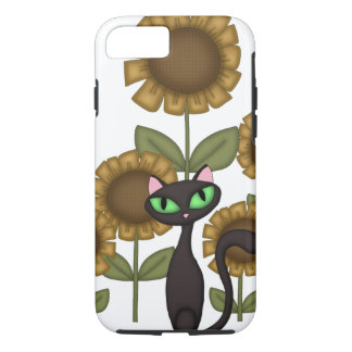 Chat noir de tournesol coque iPhone 7