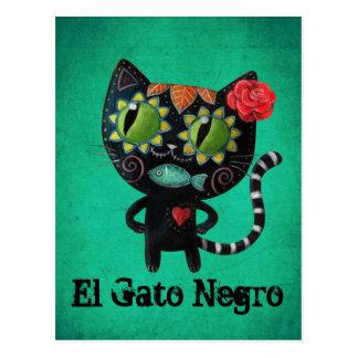 Chat noir des morts carte postale