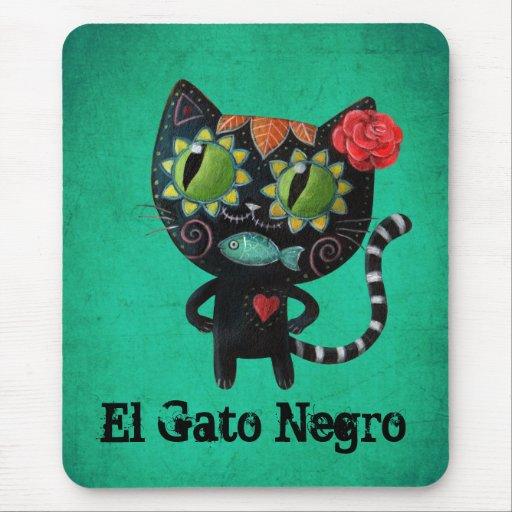 Chat noir des morts tapis de souris