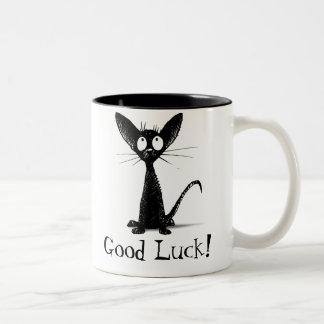 Chat noir drôle de bonne chance tasse 2 couleurs