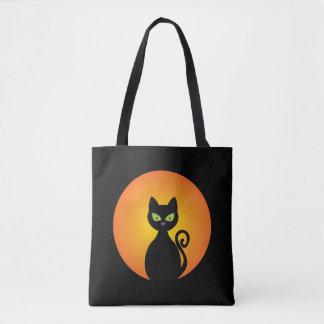 Chat noir éffrayant de Halloween Tote Bag