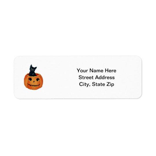 Chat noir en citrouille étiquettes d'adresse retour