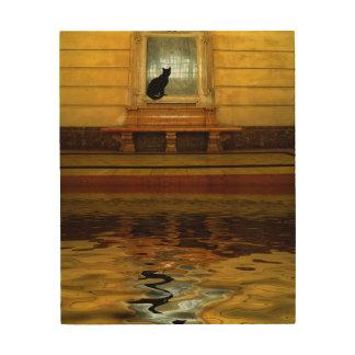 Chat noir en surface impression sur bois