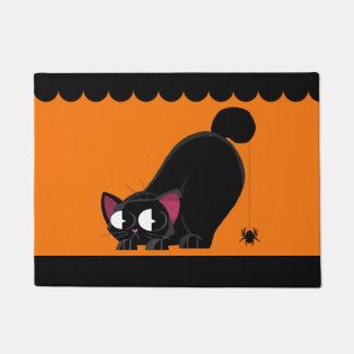 Chat noir et araignée de Halloween Paillasson