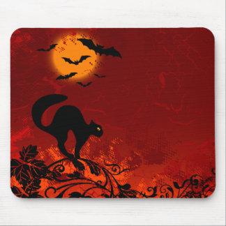 Chat noir et battes de Halloween Tapis De Souris