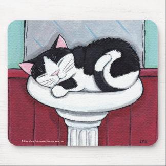 Chat noir et blanc dans l'évier de salle de bains tapis de souris