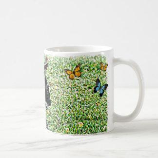 Chat noir et blanc de poule mouillée mug
