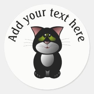 Chat noir et blanc personnalisé sticker rond