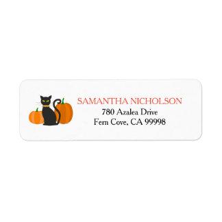 Chat noir et citrouilles Halloween Étiquette D'adresse Retour