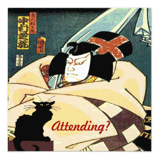 Chat noir et homme japonais, étant présent ? carton d'invitation  13,33 cm