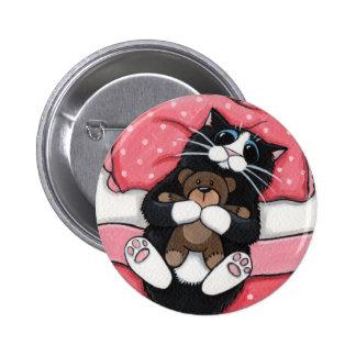 Chat noir et nounours - bouton d'art de chat badges