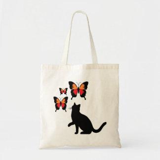 Chat noir et papillons sac