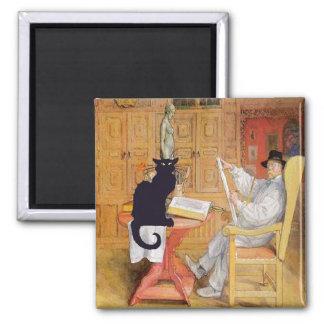 Chat noir et peintre magnet carré