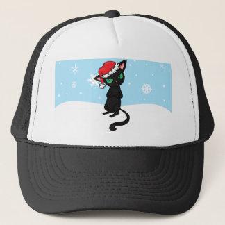Chat noir grincheux utilisant le casquette de Père