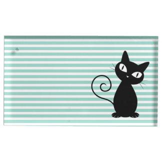 Chat noir lunatique mignon sur des rayures porte-carte de table