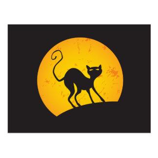 Chat noir - lune jaune carte postale