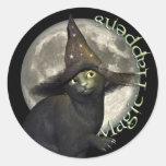 Chat noir magique adhésifs ronds
