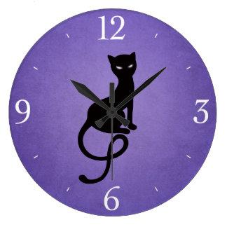 Chat noir mauvais aimable pourpre pendule murale