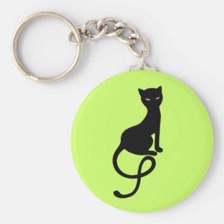 Chat noir mauvais aimable vert porte-clé
