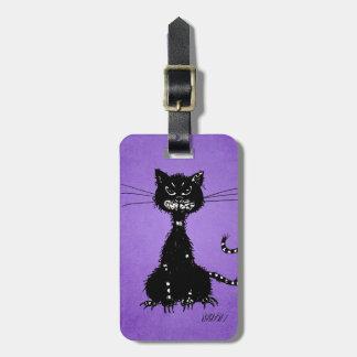Chat noir mauvais en lambeaux pourpre étiquettes bagages