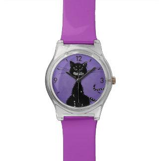 Chat noir mauvais en lambeaux pourpre montres bracelet
