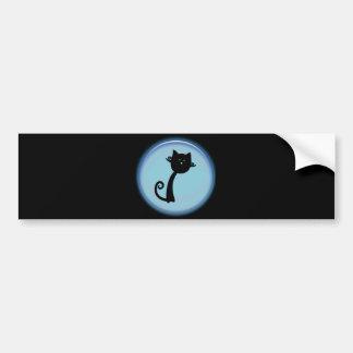 Chat noir mignon dans la conception 3D bleue Autocollant De Voiture