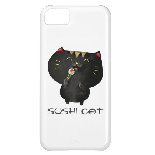 Chat noir mignon de sushi de Kawaii Coque iPhone 5C