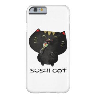 Chat noir mignon de sushi de Kawaii Coque iPhone 6 Barely There
