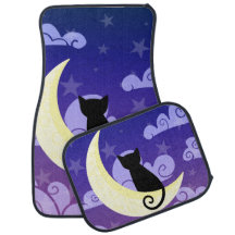 Chat noir mignon sur la lune en ciel nocturne tapis de voiture