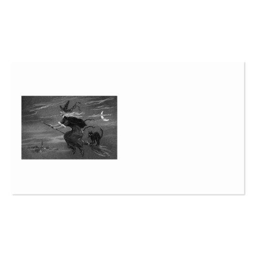 Chat noir monochrome de balai de sorcière cartes de visite personnelles