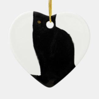chat noir ornement cœur en céramique
