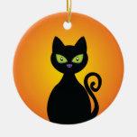 Chat noir ornement rond en céramique